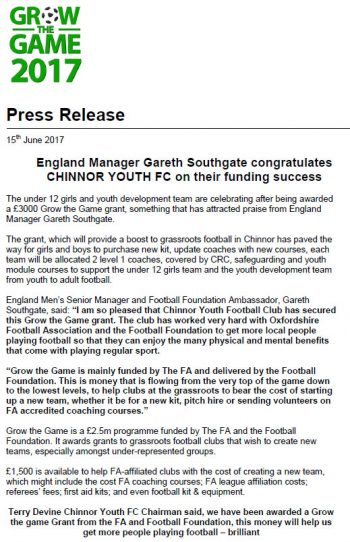 England Manager Gareth Southgate Congratulates CHINNOR YOUTH FC on their funding success